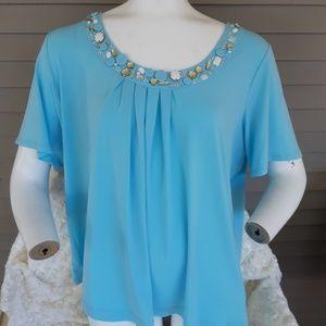 Susan Graver blue beaded blouse